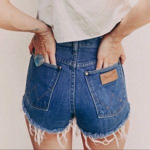 WRANGLER Vintage High Rise Denim Shorts Blue 28